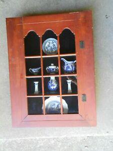 Wooden Knick Knack Cabinet with Flow Blue Plates Tea Pot