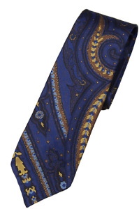 NWT - Drake's – Blue Silk Tie w/Exploded Paisley Print, Made in England