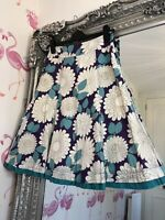 Boden Purple Bold Floral Retro Vibe A Line Mid Skirt 8 Summer Holiday