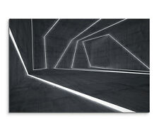 Wandbild Abstrakt Modern Illustration Leuchtende Linien auf Grau auf Leinwand