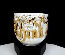 "GERMAN ANTIQUE PORCELAIN THINK OF ME FLORAL RELIEF GOLD 3 1/4"" MUSTACHE CUP 1880"