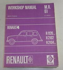 Workshop manual Renault r4 r1120/r2102 etc. Stand 1968