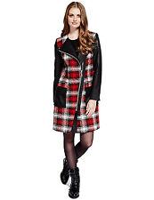 NEW M & S Limited Edition Red Tartan Long Coat Jacket 8 lifesize