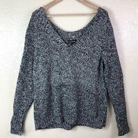 Lane Bryant Women's Plus 14 16 Black White Thick Cable Knit V Neck Sweater