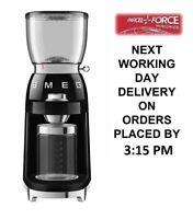 Smeg CGF01BLUK 50's Style Retro Black Coffee Grinder + 2 Year Warranty (New)