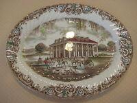"Staffordshire England Ironstone 4411 Heritage Hall Oval Serving Platter, 13 3/4"""