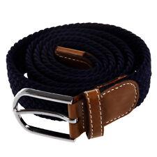 Stretch Braided Elastic Leather Buckle Belt Waistband Dark blue SS