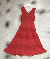 Ladies Missy Size 100% Cotton Sleeveless Boho Peasant Crochet Lace Dress NWT.