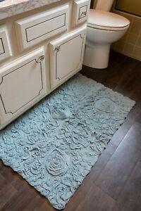 Bell Flower Bath Rug Chic Cotton Bath Mat No-Slip Latex Backing Choose Color