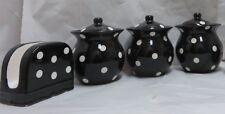 ACK Black/White Dots Hand Painted Ceramic 3pc Canister Set Bonus Napkin Rack New