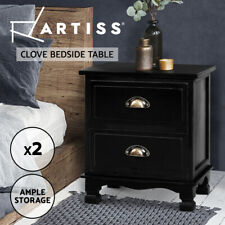Artiss Bedside Tables Drawers Side Table Nightstand Storage Cabinet Vintage x2