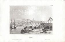 Triest Trieste Ansicht vom Hafen Italien Italia Orig Stahlstich 1850