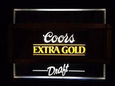 Vintage Coors Extra Gold Draft Flourescent Light Up Back Bar Sign Rare