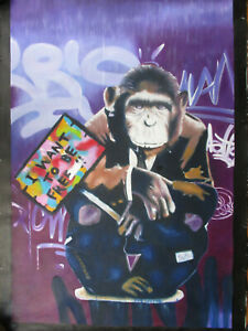 Free Monkey chimp graffiti urban street art Print painting  Canvas