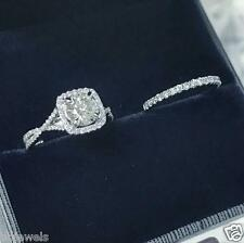 1.50ct Round cut Diamond Bridal Set Engagement Ring 10K White Gold Over