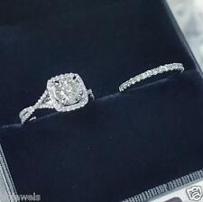 1.50ct Round cut Diamond Bridal Set Engagement Ring 10K White Gold Over
