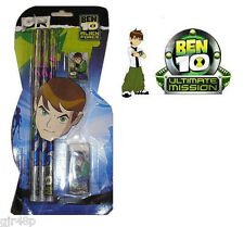 Ben 10 Alien Force Kids Children's Pencil Set Of 6 Pencils Eraser & Sharpener