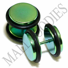 """2108 Fake Cheater Illusion Faux Plugs 16G Surgical Steel 1/2"""" 12mm Green Largest"""