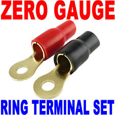 0 Gauge Wire Cable Ring Terminal Connectors Red and Black Boots Zero or 2 Gauge