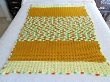 """YELLOW & GOLDEN Brown Hand Crocheted Afghan - Blanket - Throw - 40 X 50"""""""