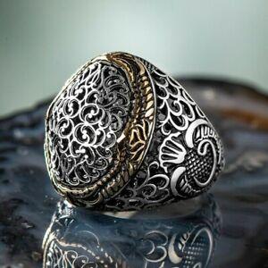 Solid 925 Sterling Silver Filigree Design Vav Men's Ring