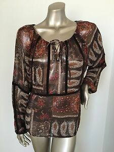 Ladies Brown Print Boho Top Size 16 Long Sleeve Sheer Fabric EXCELLENT CONDITION