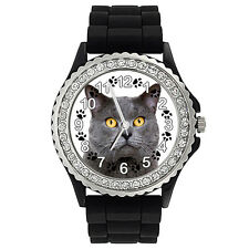 Chartreux Katze Strass Damenuhr mit Silikonarmband SG1806