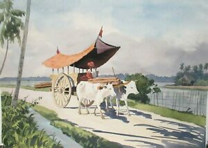 MNDR OLD VIETNAM MULES WAGON WATERCOLOR LANDSCAPE PAINTING