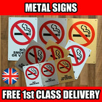 Metal Signs - No Smoking / Vaping. White Silver Gold Wall Plaques Cafe Pub Hotel