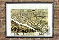 Vintage Lafayette, IN Map 1868 - Historic Indiana Art - Old Victorian Industrial
