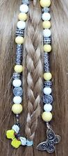 Yellow Glass & Silver Metal Bead Hair Tie w/ Butterfly Ornaments Handmade