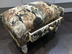 Dog Labrador Retriever Pattern Footstool With Drawer 45cm Length