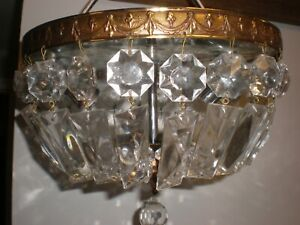Vintage Crystal chandelier flush mount, 10 inch, ceiling light