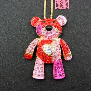 Betsey Johnson Pink Enamel Rhinestone Lovely Bear Pendant Necklace
