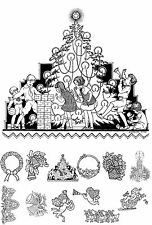 """Adult Coloring Cards Book (24 cards 4.5""""x6.5"""") Christmas Tree Santa FLONZ 003"""