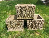 Vintage Square Concrete Garden (Heavy) Faux Wood- Modern Pot/Planter