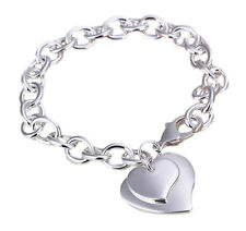 Heart Charm Bracelet 8 Inch Sterling Silver Plated Jewelry IN GIFT BOX