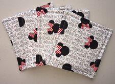 Vintage Minnie Mouse Fabric Mug Rug Coasters Walt Disney New Set of 4