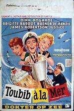 DOCTOR AT SEA Belgian movie poster 14x22 BRIGITTE BARDOT DIRK BOGARDE Rare