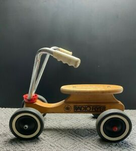 Vintage Radio Flyer Wooden 4 Wheel Scooter Ride On Toy Hard Maple Wood USA