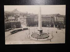 Marseille La Place Castellane Obelisk Strassenbahn mit offenen Sommerwagen 1908