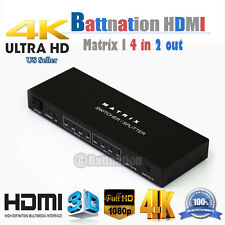4x2 HDMI True Matrix Switch Splitter Remote Control 4Kx2K 3D 1080P 4 in 2 out