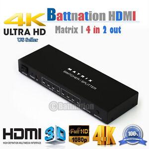 4X2 HDMI 3D True Matrix Switch Splitter 4 In Source 2 Out Display W/ Remote 4K