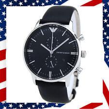 ** USA AELLER ** Authentic Emporio Armani AR0397 Chronograph Black Leather Watch