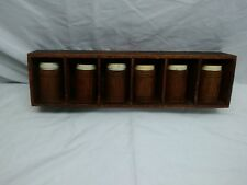 Vintage 6 wooden spice jars set and nice rack with removable inserts