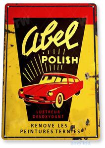 Abel Car Polish Sign, Rustic Auto Shop Garage Car Wash Tin Sign B916