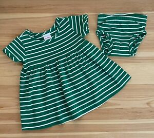 HANNA ANDERSSON Green Stripe Play All Day Dress Size 70 6-12 Months