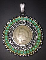 Vintage 1907 Indian Head Penny Turquoise Silvertone Pendant