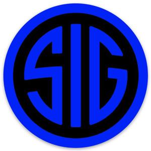 SIG SAUER  Black & Blue Die-Cut Round STICKER