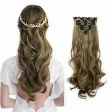 Extension a Clip Cheveux Long Bouclés Naturel 50cm 7 Pcs16 Clips Postiche Brun